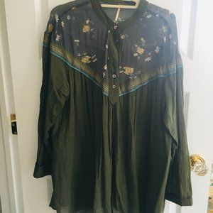 Free People L Olive Blouse With Pockets